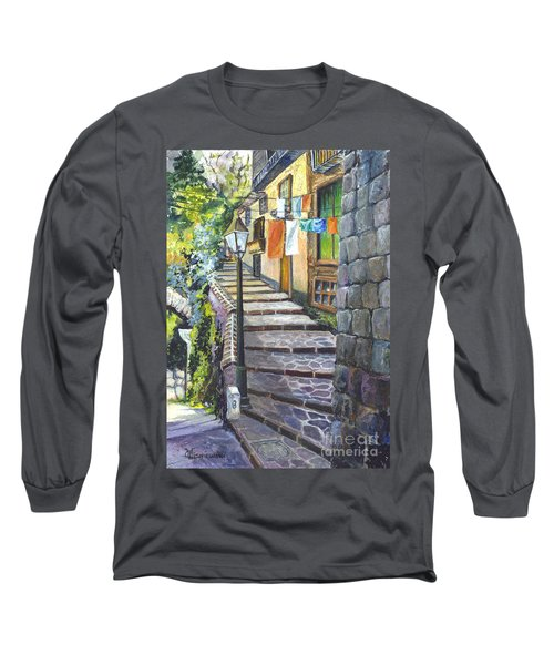 Old Village Stairs - In Tuscany Italy Long Sleeve T-Shirt by Carol Wisniewski