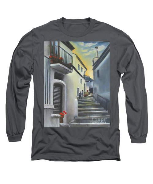 Long Sleeve T-Shirt featuring the painting On The Way To Mamma's House In Castelluccio Italy by Lucia Grilletto
