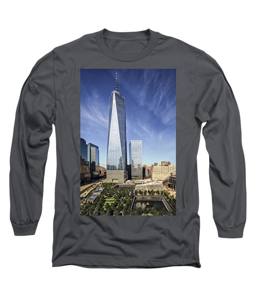 Long Sleeve T-Shirt featuring the photograph One World Trade Center Reflecting Pools by Susan Candelario