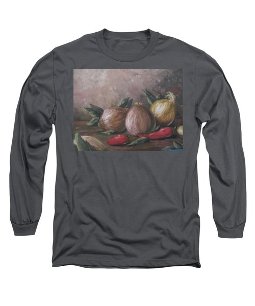 Long Sleeve T-Shirt featuring the painting Onions And Peppers by Megan Walsh