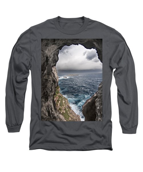 A Natural Window In Minorca North Coast Discover Us An Impressive View Of Sea And Sky - Open Window Long Sleeve T-Shirt by Pedro Cardona