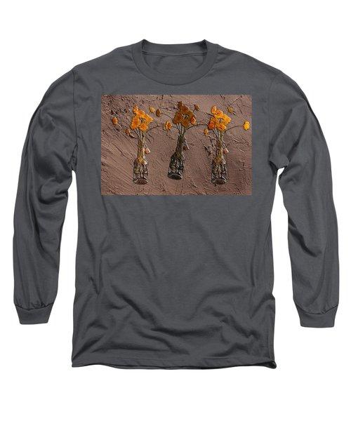 Orange Flowers Embedded In Adobe Long Sleeve T-Shirt