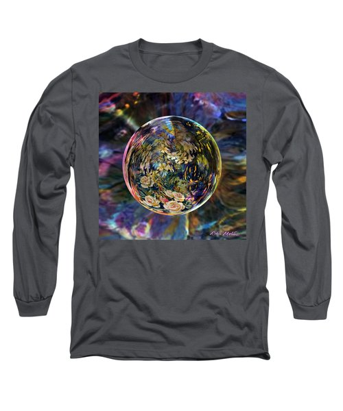 Long Sleeve T-Shirt featuring the digital art Orb Of Roses Past by Robin Moline