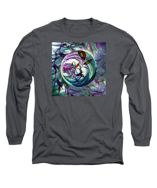 Long Sleeve T-Shirt featuring the digital art Orbiting Cranberry Dreams by Robin Moline