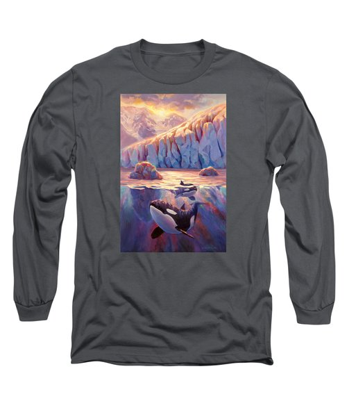 Orca Sunrise At The Glacier Long Sleeve T-Shirt by Karen Whitworth