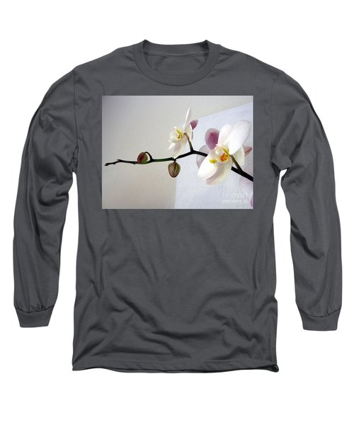 Orchid Coming Out Of Painting Long Sleeve T-Shirt by Barbara Yearty