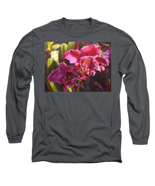 Orchids In Magenta Long Sleeve T-Shirt by Karen Whitworth