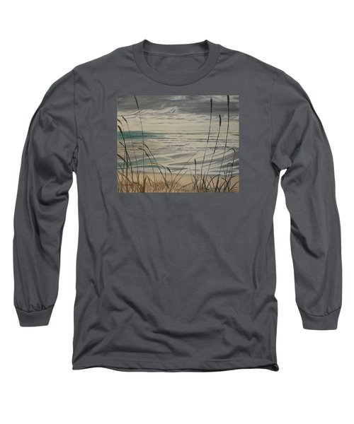 Long Sleeve T-Shirt featuring the painting Oregon Coast With Sea Grass by Ian Donley