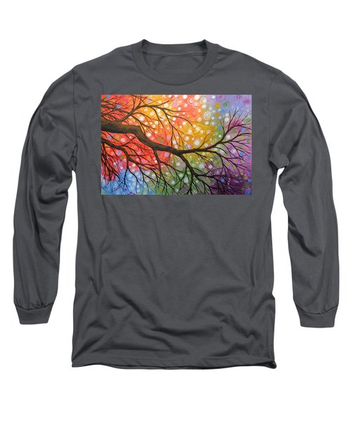 Long Sleeve T-Shirt featuring the painting Original Abstract Painting Landscape Print ... Bursting Sky by Amy Giacomelli