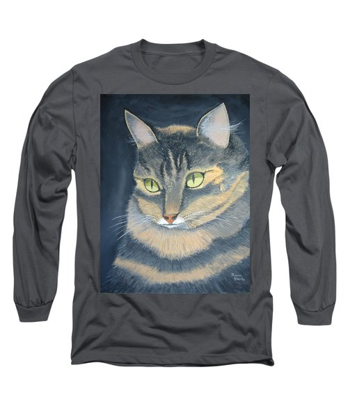 Original Cat Painting Long Sleeve T-Shirt by Norm Starks