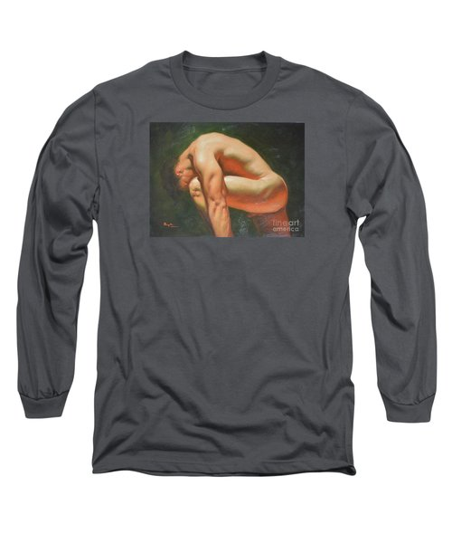 Original Classic Oil Painting Man Body Art-male Nude -042 Long Sleeve T-Shirt by Hongtao     Huang