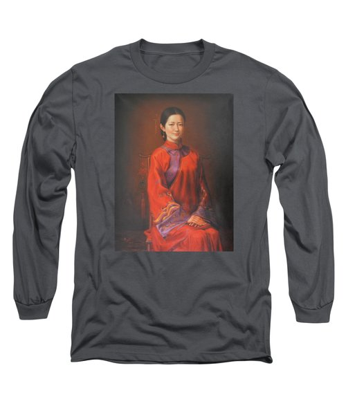 Original Classic Portrait Oil Painting Woman Art - Beautiful Chinese Bride Girl Long Sleeve T-Shirt by Hongtao     Huang