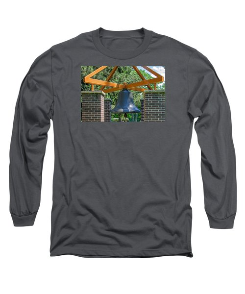 Long Sleeve T-Shirt featuring the photograph Original Fire Bell From The Superior Fire Dept In Wisconsin  1892  by Susan  McMenamin