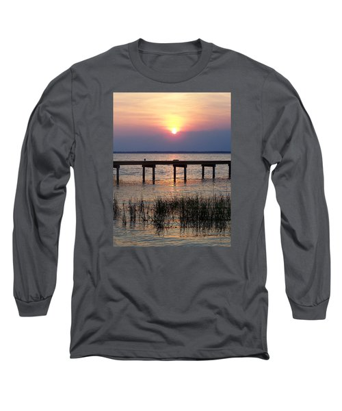 Long Sleeve T-Shirt featuring the photograph Outerbanks Nc Sunset by Sandi OReilly