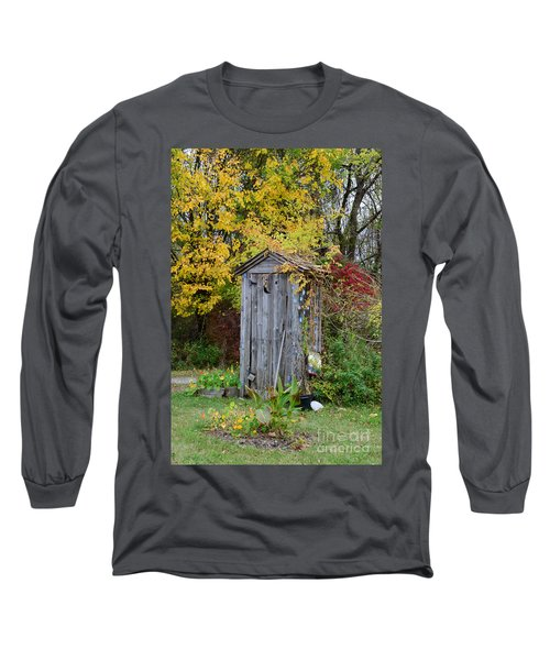 Outhouse Surrounded By Autumn Leaves Long Sleeve T-Shirt
