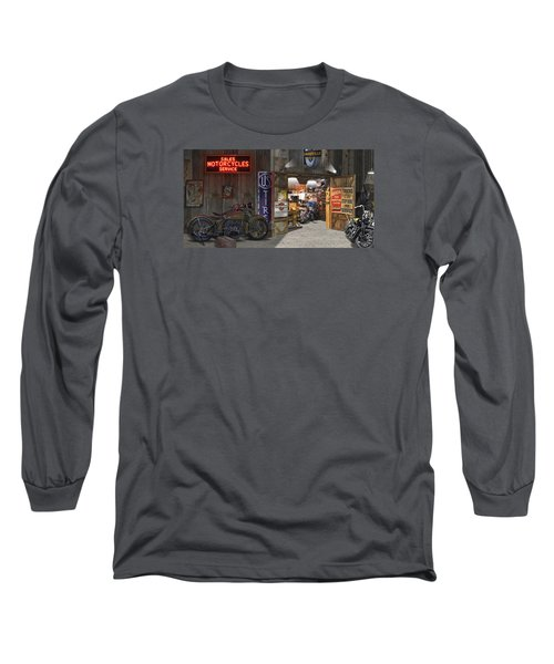 Outside The Motorcycle Shop Long Sleeve T-Shirt by Mike McGlothlen