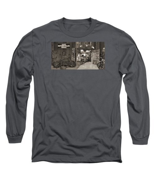 Outside The Old Motorcycle Shop - Spia Long Sleeve T-Shirt by Mike McGlothlen