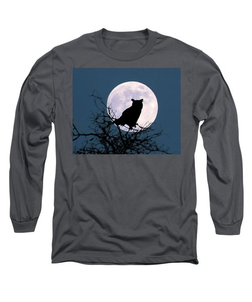 Owl And Blue Moon Long Sleeve T-Shirt