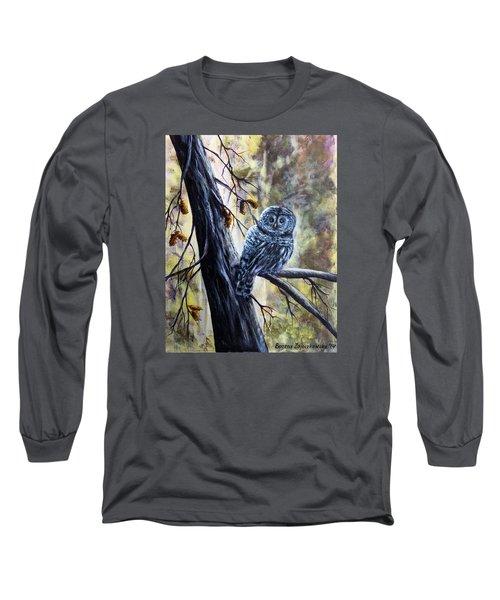 Long Sleeve T-Shirt featuring the painting Owl by Bozena Zajaczkowska