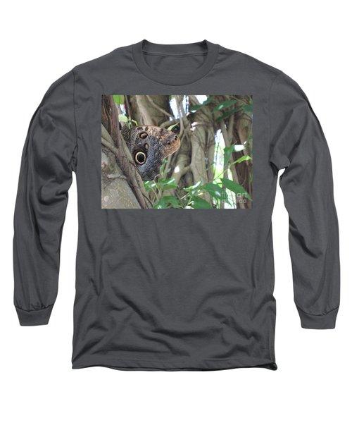 Owl Butterfly In Hiding Long Sleeve T-Shirt