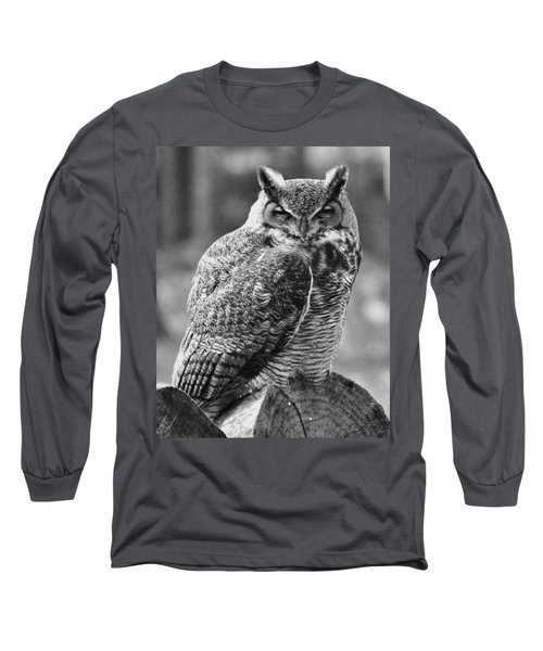 Owl In Black And White Long Sleeve T-Shirt