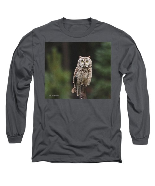 Owl In The Forest Visits Long Sleeve T-Shirt by Tom Janca