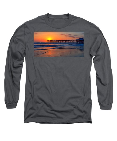 Pacific Beach Pier - Ex Lrg - Widescreen Long Sleeve T-Shirt by Peter Tellone