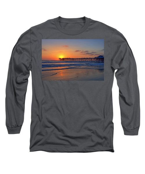 Pacific Beach Pier Sunset Long Sleeve T-Shirt by Peter Tellone