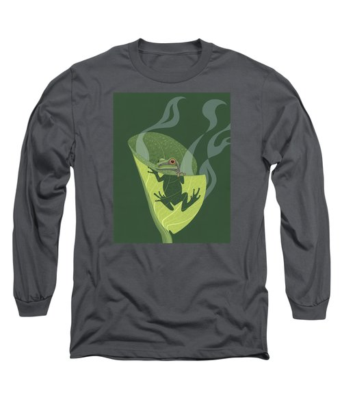 Pacific Tree Frog In Skunk Cabbage Long Sleeve T-Shirt by Nathan Marcy