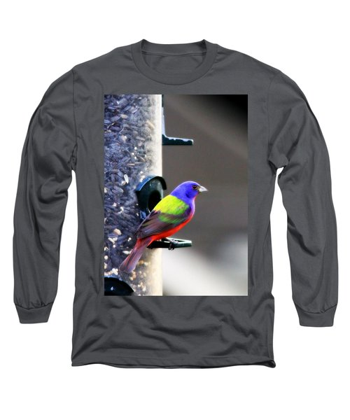 Painted Bunting - Img 9757-002 Long Sleeve T-Shirt by Travis Truelove