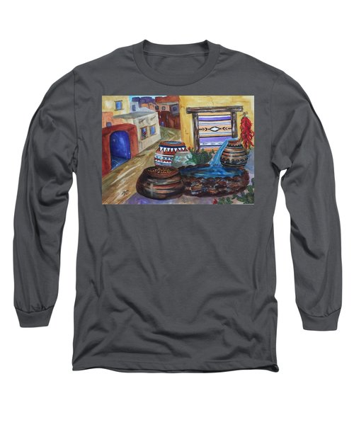 Painted Pots And Chili Peppers II  Long Sleeve T-Shirt by Ellen Levinson