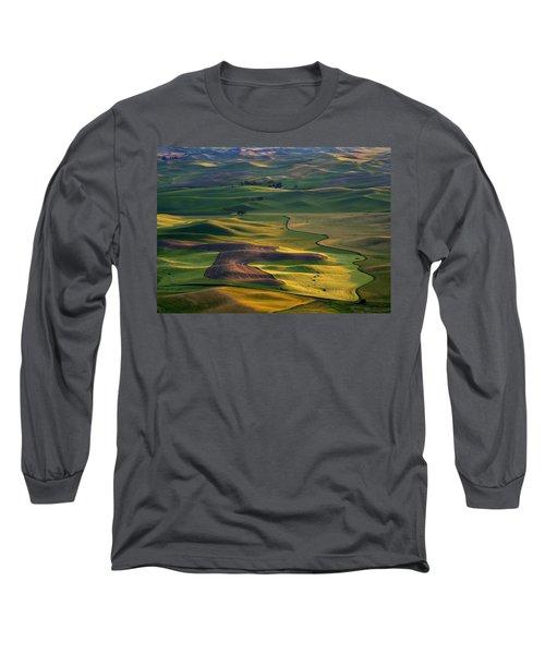 Palouse Shadows Long Sleeve T-Shirt by Mike  Dawson