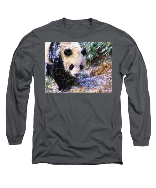 Long Sleeve T-Shirt featuring the painting Panda Bear Walking In Forest by Lanjee Chee