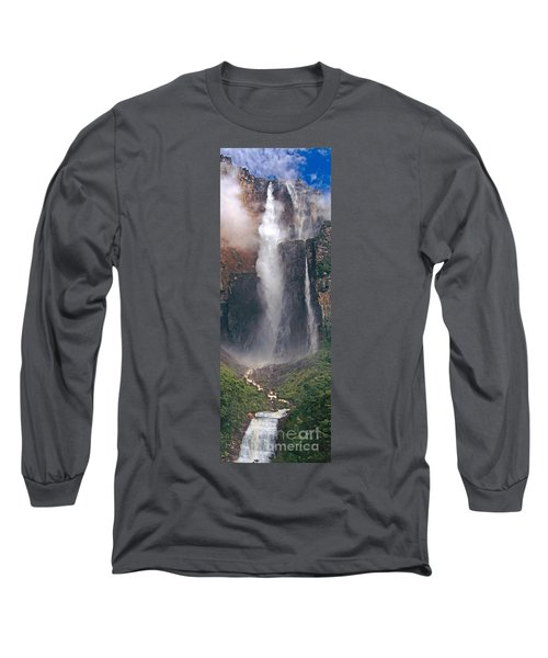 Panorama Angel Falls In Canaima National Park Venezuela Long Sleeve T-Shirt by Dave Welling