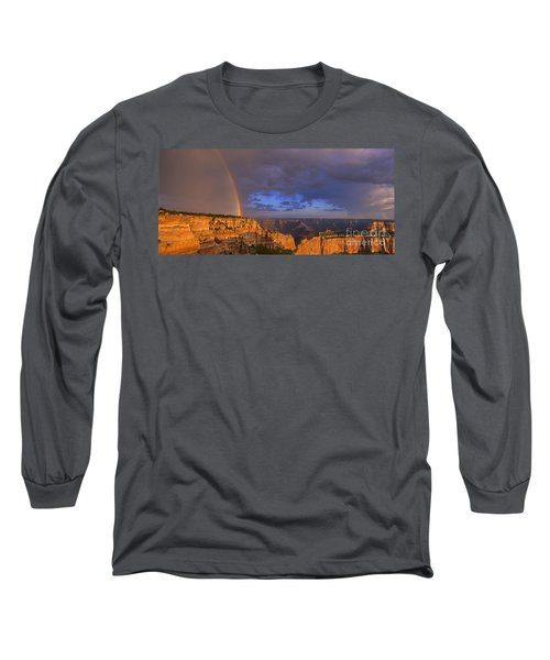 Long Sleeve T-Shirt featuring the photograph Panorama Rainbow Over Cape Royal North Rim Grand Canyon National Park by Dave Welling