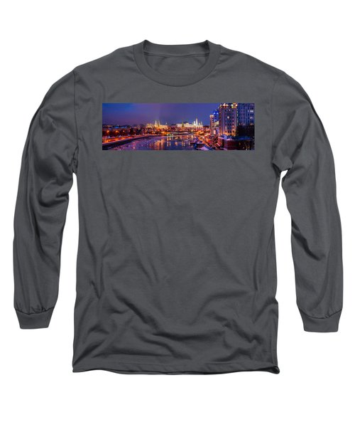 Panoramic View Of Moscow River And Moscow Kremlin  - Featured 3 Long Sleeve T-Shirt by Alexander Senin