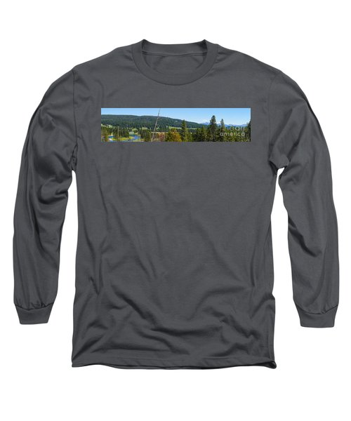 Panoramic Yellowstone Landscape Long Sleeve T-Shirt by Jennifer White