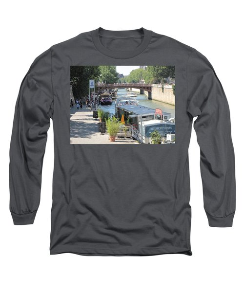 Long Sleeve T-Shirt featuring the photograph Paris - Seine Scene by HEVi FineArt