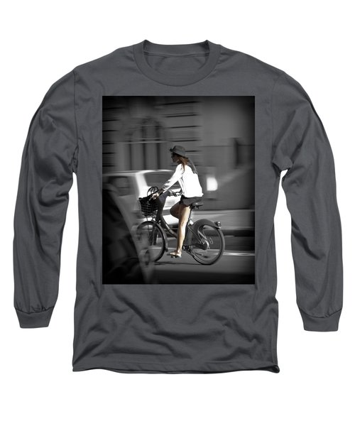 Parisian Girl Cyclist Long Sleeve T-Shirt