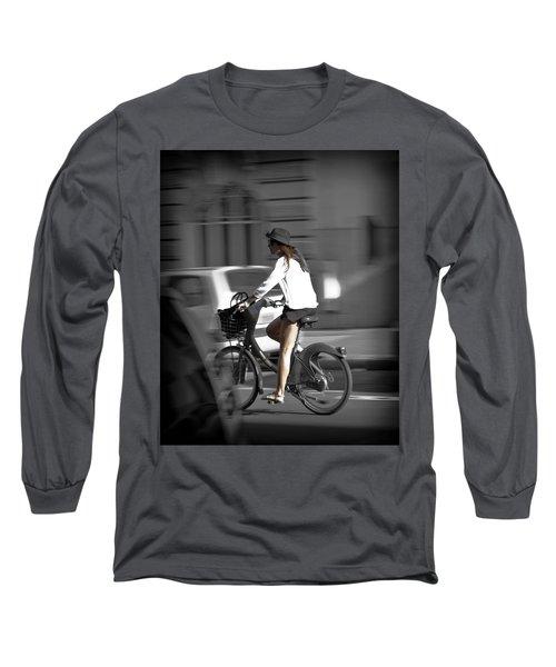 Parisian Girl Cyclist Long Sleeve T-Shirt by Maj Seda