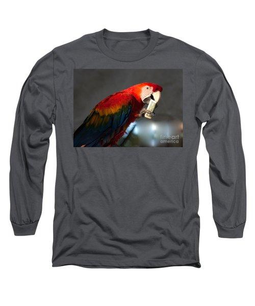 Long Sleeve T-Shirt featuring the photograph Parrot Eating 1 Dollar Bank Note by Gunter Nezhoda