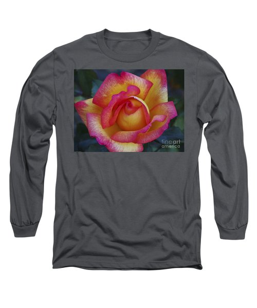 Peace In Floral Format Long Sleeve T-Shirt by Kathy McClure