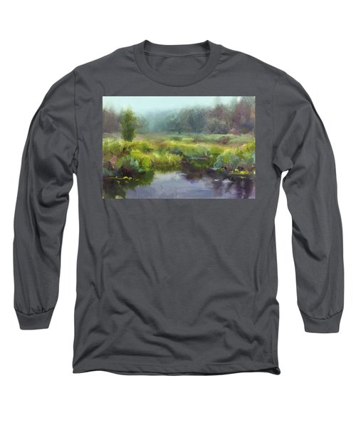 Peaceful Waters Impressionistic Landscape  Long Sleeve T-Shirt