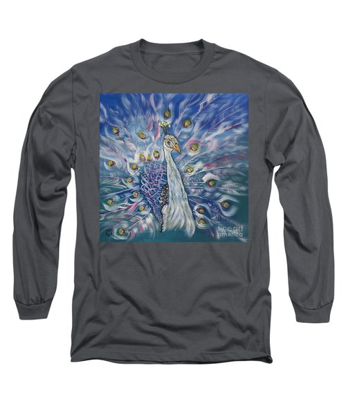 Peacock Dressed In White Long Sleeve T-Shirt