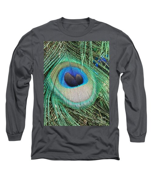 Peacock Feather Long Sleeve T-Shirt by Eric  Schiabor