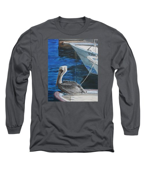 Long Sleeve T-Shirt featuring the painting Pelican On A Boat by Ian Donley