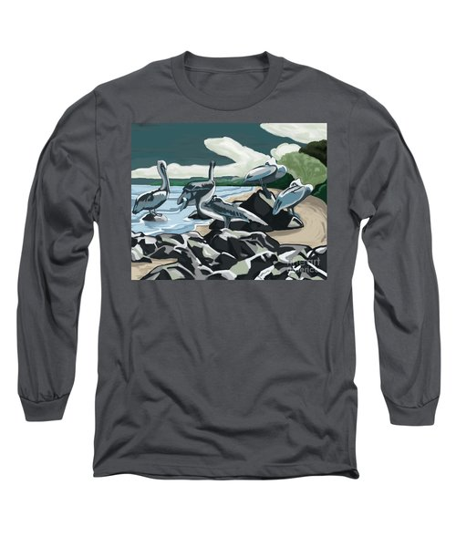 Long Sleeve T-Shirt featuring the painting Pelicans And Friends At Seashore by Tim Gilliland