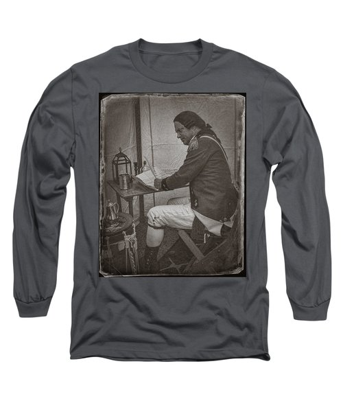 Penning A Letter To King George The Third   Long Sleeve T-Shirt by Priscilla Burgers