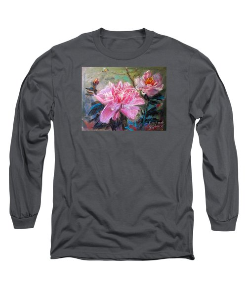 Long Sleeve T-Shirt featuring the painting Peony by Jieming Wang