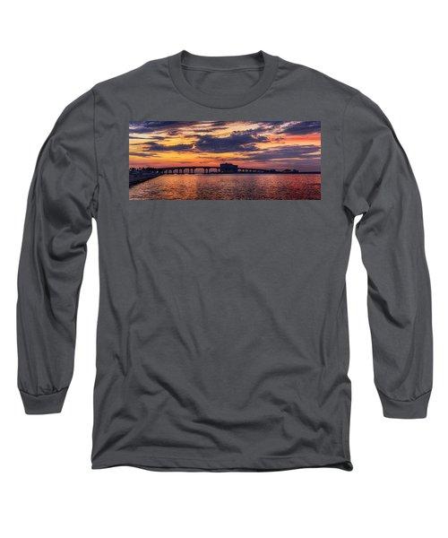 Perdido Bridge Sunrise Long Sleeve T-Shirt by Michael Thomas